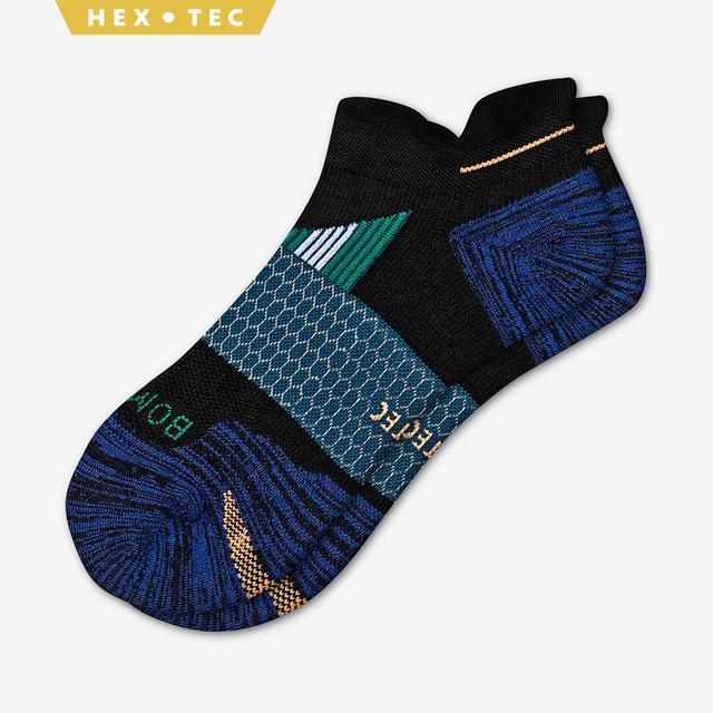 black-blue-green Men's Performance Running Ankle Sock