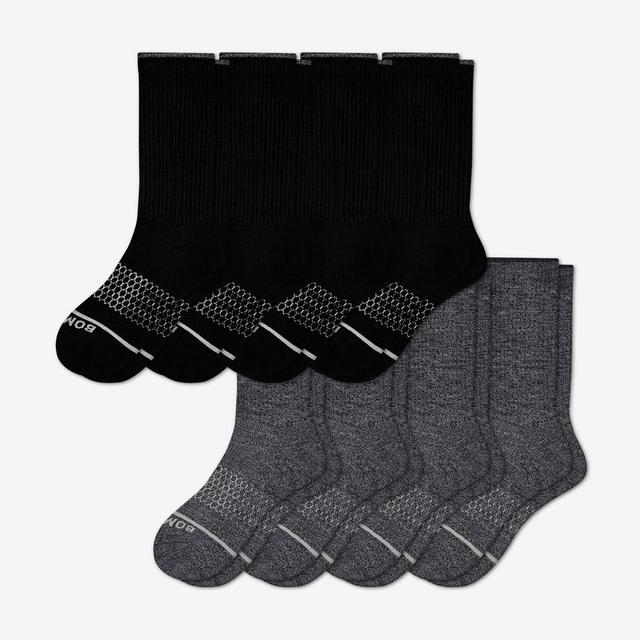 black-charcoal Men's Merino Wool Calf Sock 8-Pack