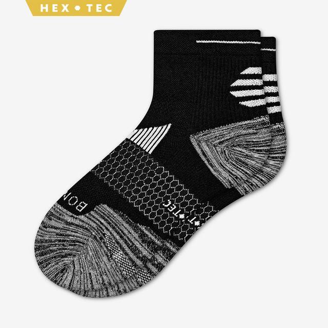black Men's Performance Running Quarter Sock