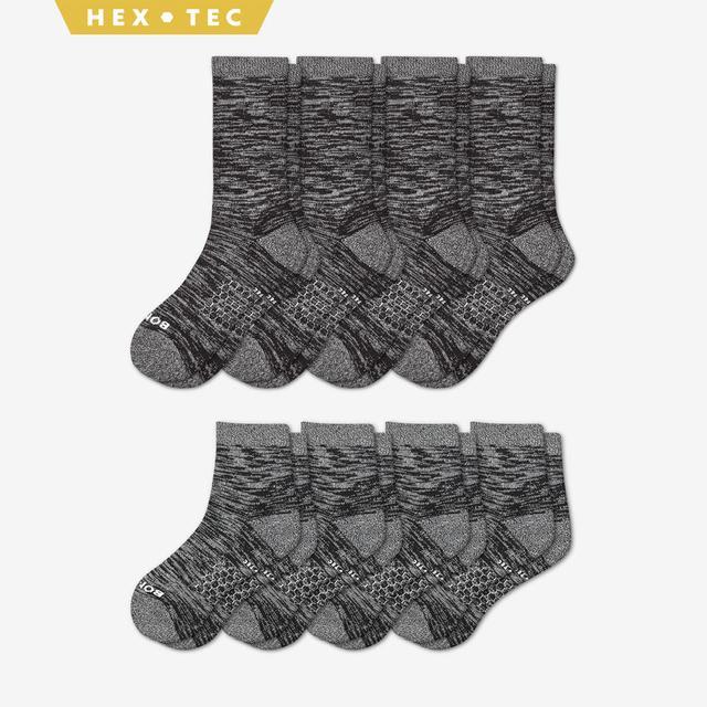 black Men's Hiking Calf & Quarter Sock 8-Pack