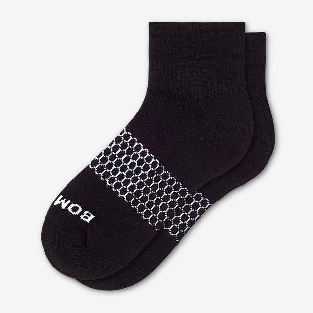 black Men's Piqué Quarter Socks