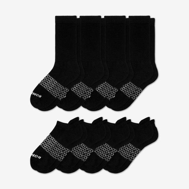 black Men's Solids Calf & Ankle 8-Pack