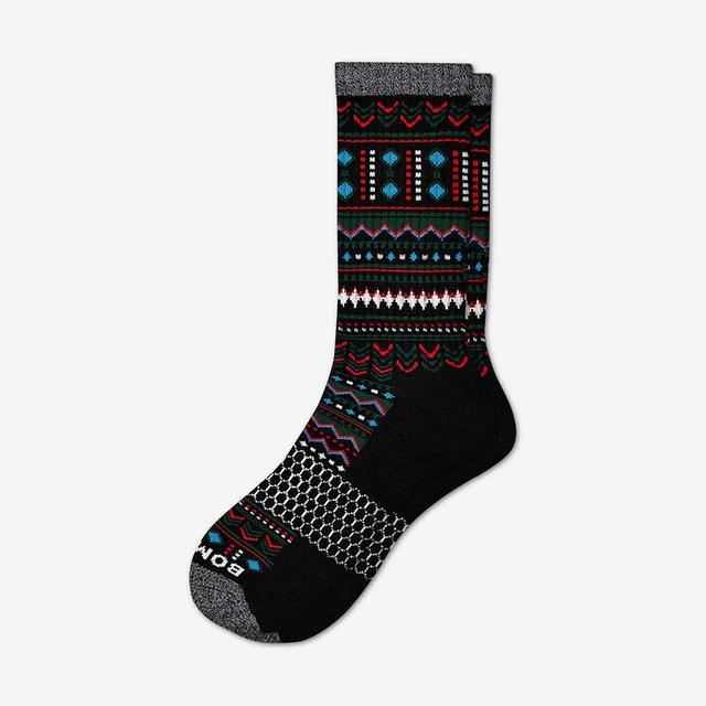black Men's Fair Isle Calf Socks