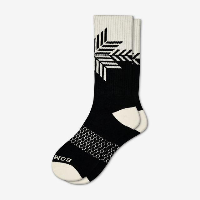 black Men's Snowflake Calf Socks