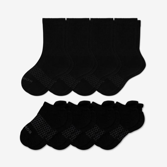 black Youth Solids Calf & Ankle Sock 8-Pack
