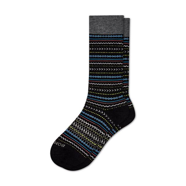 black Men's Fair Isle Dress Socks