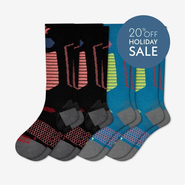 black-melon-and-blue-citron Men's Performance Ski & Snowboard Socks 4-Pack