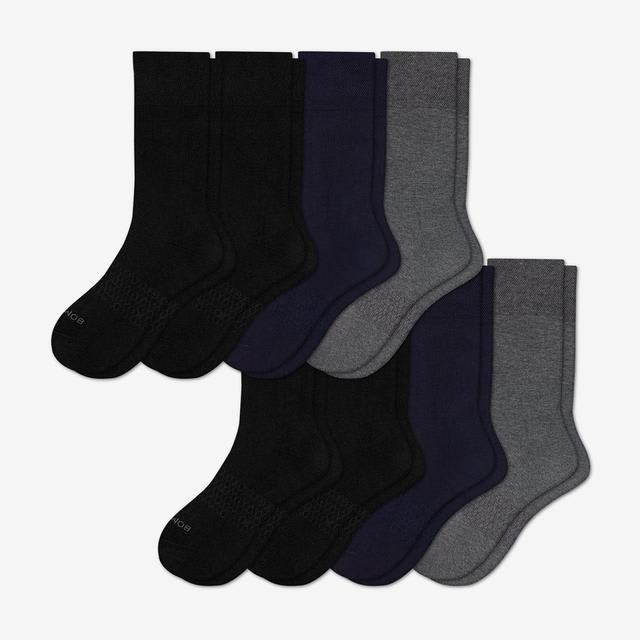 black-navy-charcoal Men's Dress Calf Sock 8-Pack