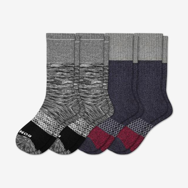 black-navy Men's Tri-Block Calf Socks 4-Pack