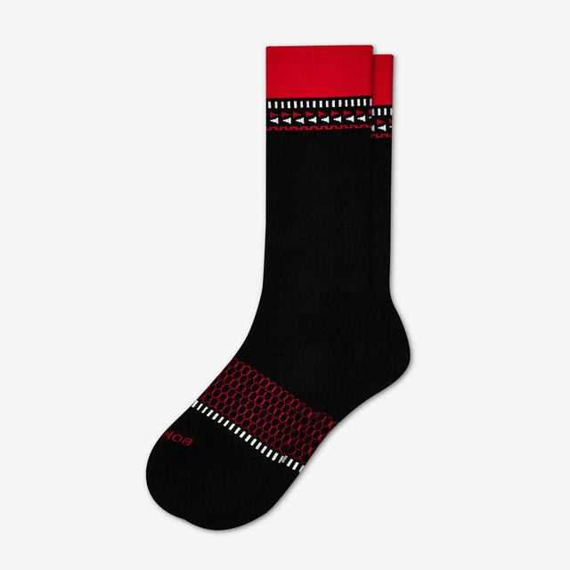 black-red Men's Fair Isle Dress Socks