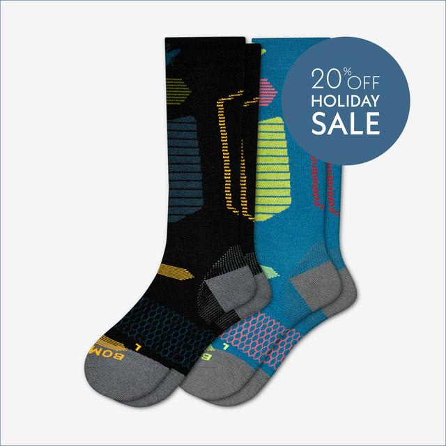 black-sapphire-and-blue-citron Men's Performance Ski & Snowboard Socks 2-Pack
