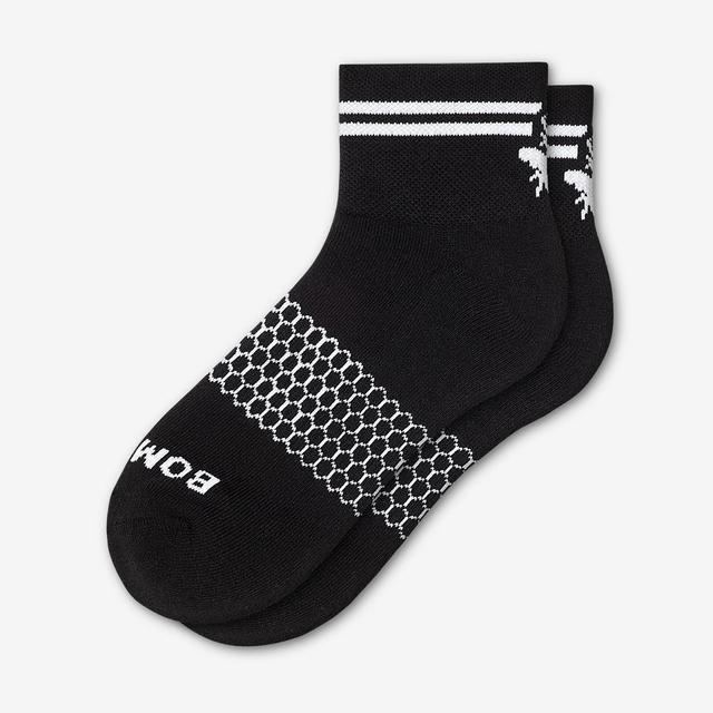 black-striped Men's Piqué Quarter Socks