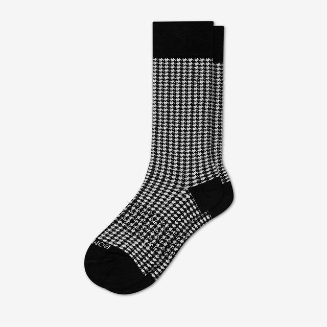 black-white Men's Dress Houndstooth Socks