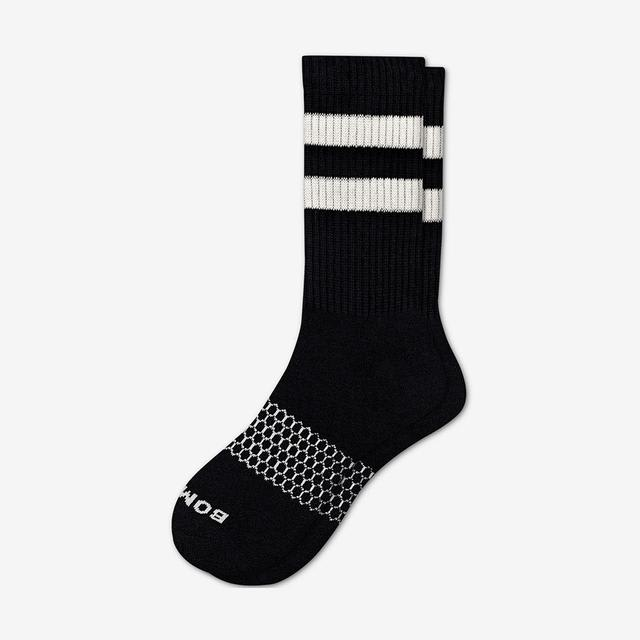 black-white Men's Vintage Stripe Calf Socks