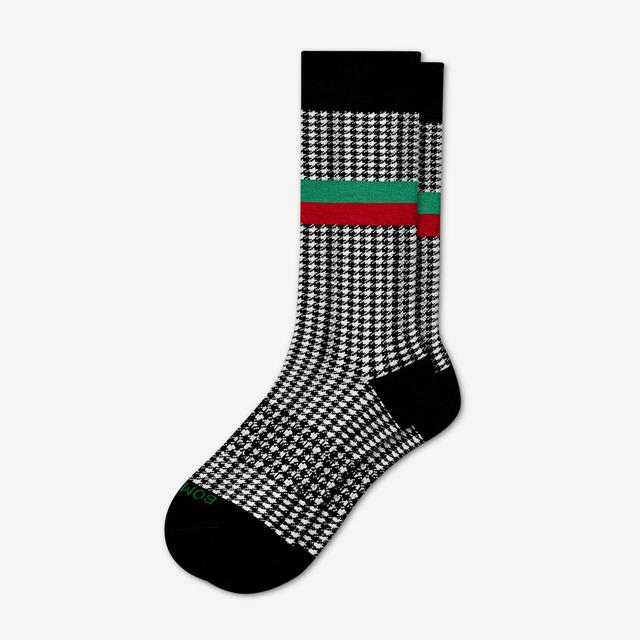 black-white-stripe Men's Dress Houndstooth Socks