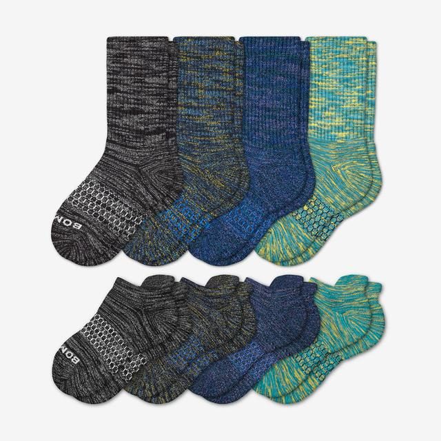 blue-green-black Youth Space Dye Calf & Ankle Sock 8-Pack