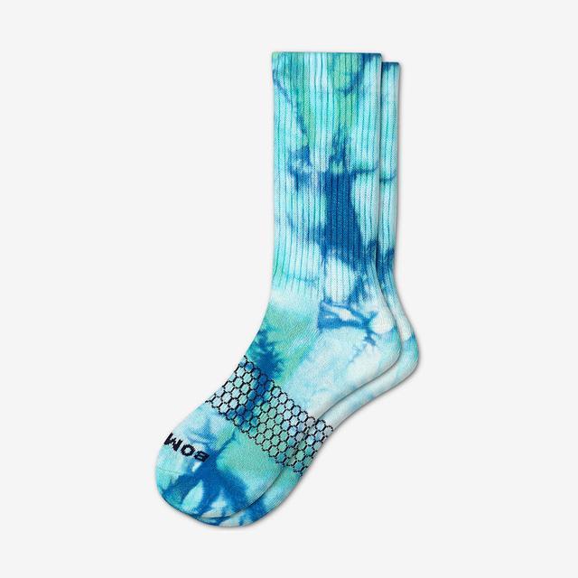 blue-green Men's Tie Dye Calf Socks