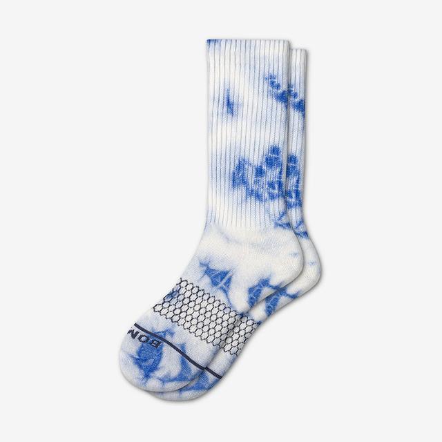 blue Men's Merino Tie Dye Calf Socks