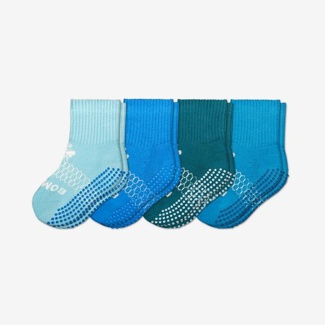 blue-mix Toddler Gripper Calf Sock 4-Pack