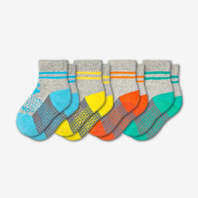 blue-yellow-orange-teal Toddler Gripper Sock 4-Pack