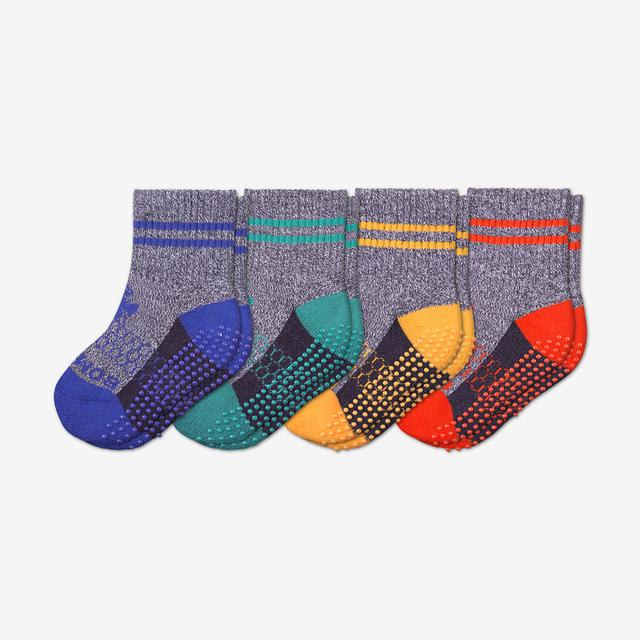 blueberry-surf-mustard-blood-orange Toddler Gripper Calf Sock 4-Pack