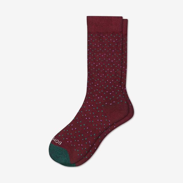 burgundy-dot Women's Lightweight Calf Socks