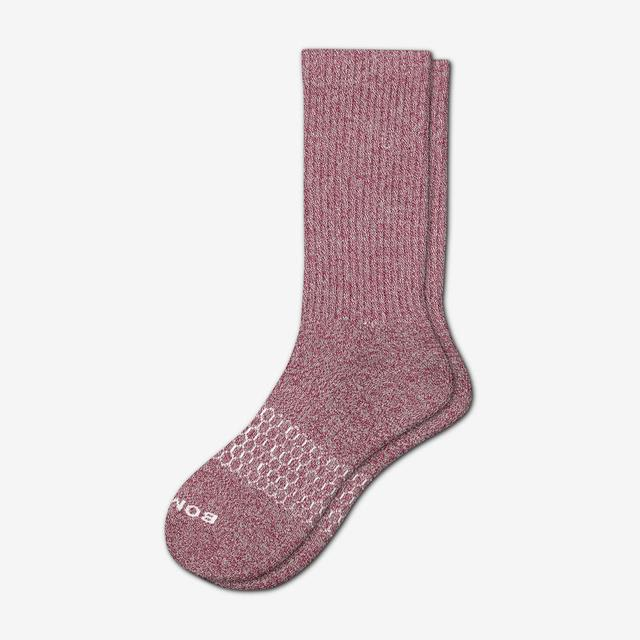 burgundy-oatmeal Men's Classic Marls Calf Sock