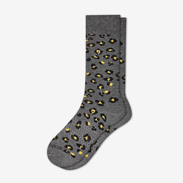 charcoal Men's Leopard Dress Socks