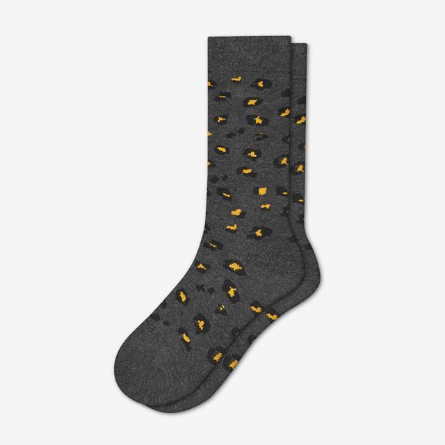 charcoal-leopard Women's Lightweight Crew Sock