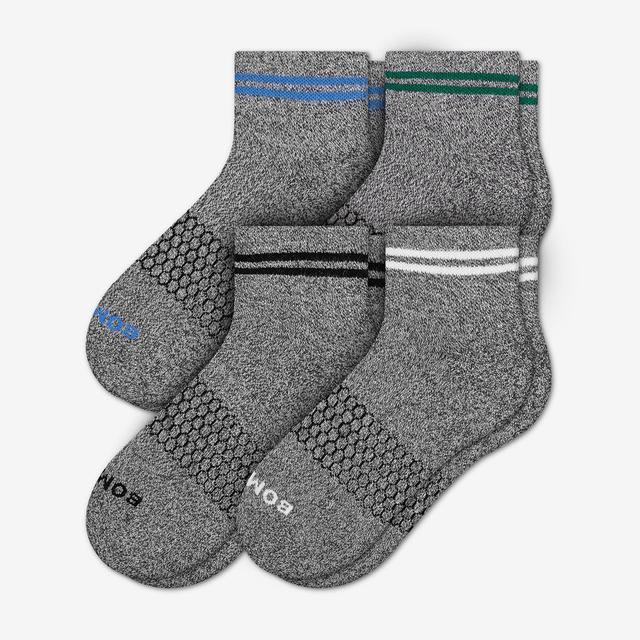 charcoal-stripe Men's Piqué Quarters 4-Pack
