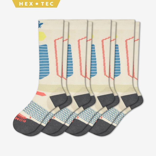 cream-blue Women's Performance Ski & Snowboard Socks 4-Pack