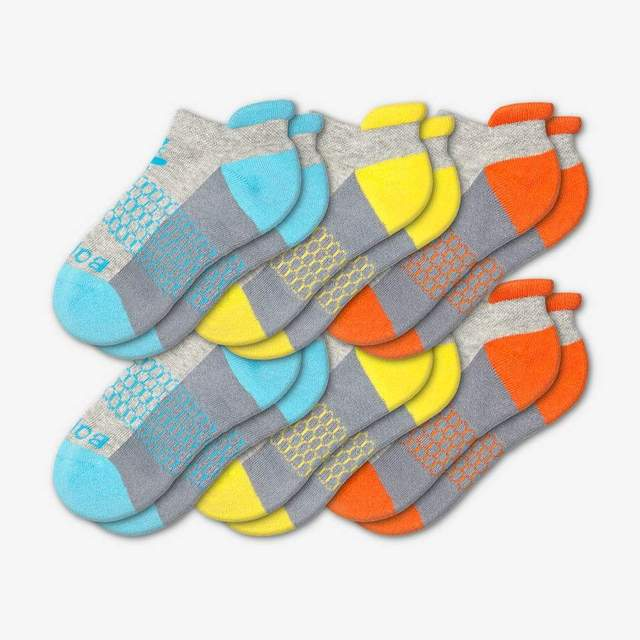 cyan-yellow-orange Youth Ankle 6-Pack