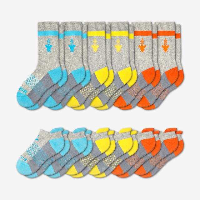 cyan-yellow-orange Youth Calf & Ankle 12-Pack