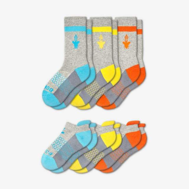 cyan-yellow-orange Youth Calf And Ankle 6-Pack