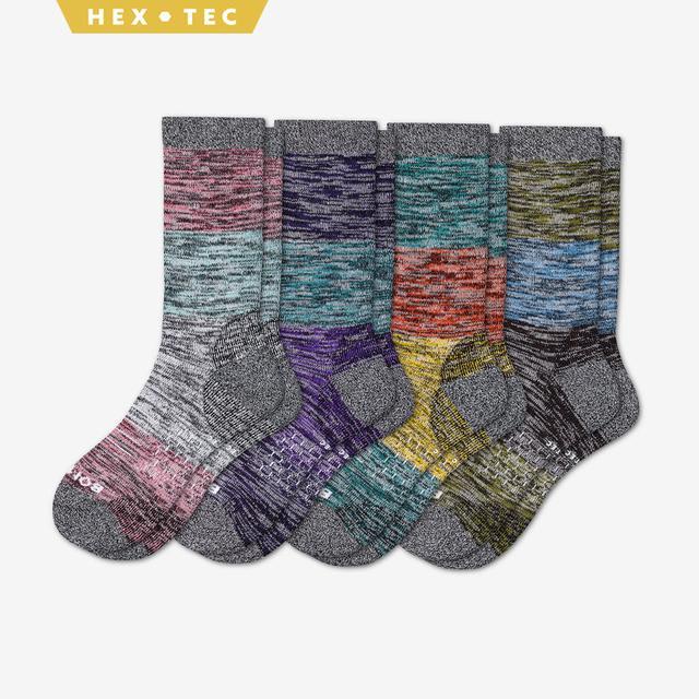 fall-mix Women's Hiking Colorblock Calf Sock 4-Pack