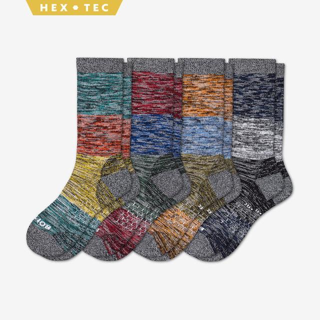 fall-mix Men's Hiking Colorblock Calf Sock 4-Pack