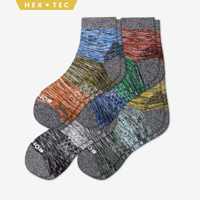 fall-mix Men's Hiking Colorblock Quarter Sock 4-Pack