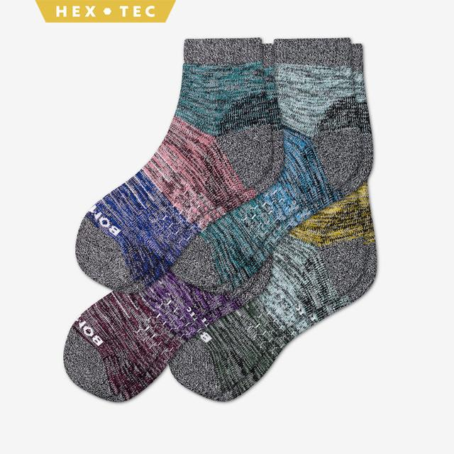 fall-mix Women's Hiking Colorblock Quarter Sock 4-Pack