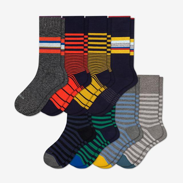 fall-mix Men's Dress Calf Sock 8-Pack