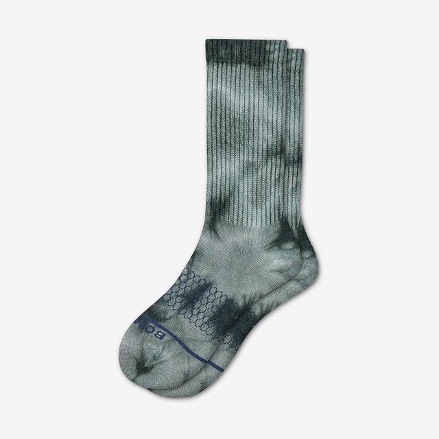 green Men's Merino Tie Dye Calf Socks