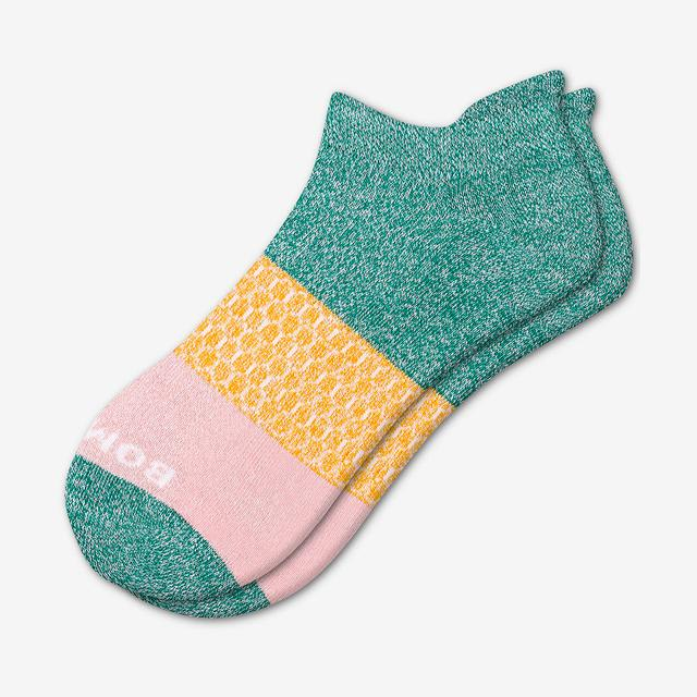 green-saffron-pink Women's Tri-Block Ankle Socks
