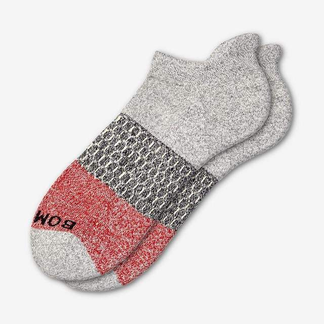 grey-heather-and-red Men's Tri-Block Ankle Sock