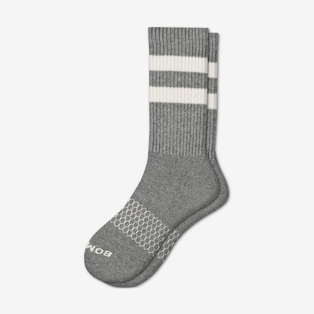 grey-white Men's Vintage Stripe Calf Socks