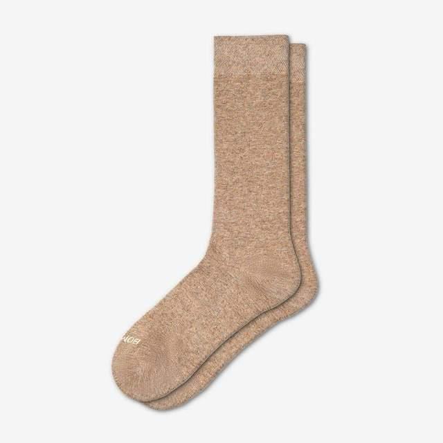 khaki-heather Women's Lightweight Crew Sock