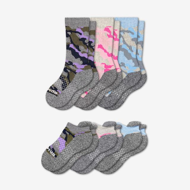 lavender-rose-chambray Youth Camo Calf & Ankle Sock 6-Pack