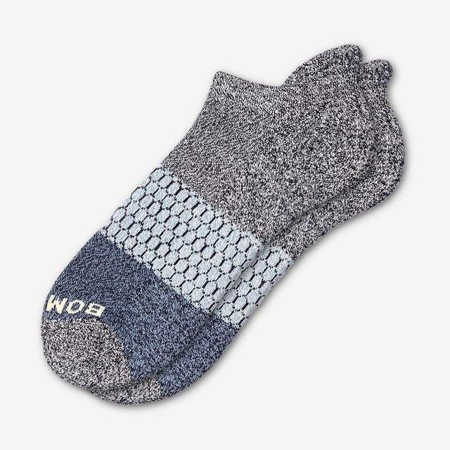 marled-midnight-and-soft-blue Men's Tri-Block Ankle Sock