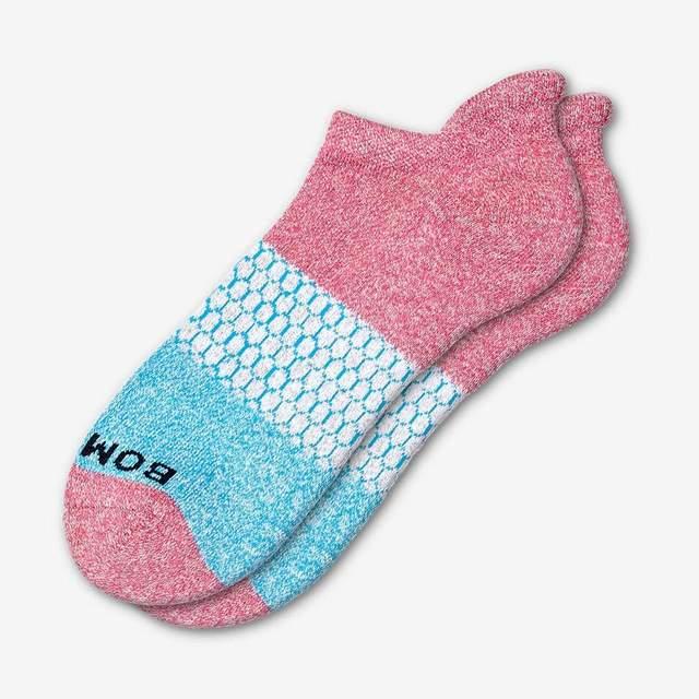 marled-pink-and-aqua Men's Tri-Block Ankle Sock