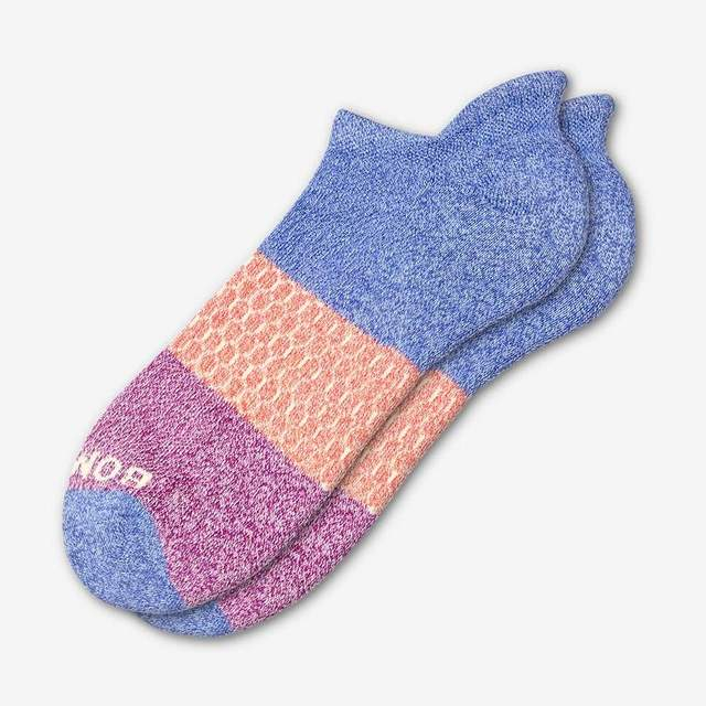 marled-violet-and-magenta Men's Tri-Block Ankle Sock