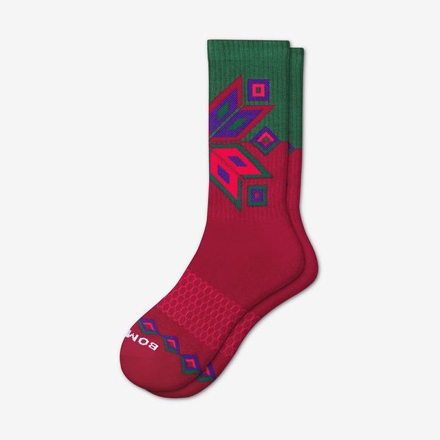 maroon-pine Women's Snowflake Calf Socks