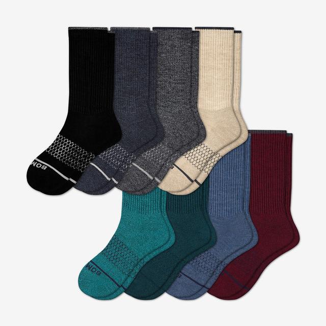 mixed-8 Men's Merino Wool Calf Sock 8-Pack